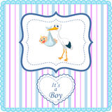 Cartoon stork with baby boy card Stock Images