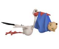 Cartoon stork with baby boy Stock Photos