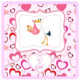 Cartoon stork with baby card Royalty Free Stock Photography