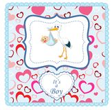 Cartoon stork with baby card Stock Photography