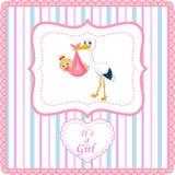 Cartoon stork with baby card Stock Photos
