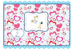 Cartoon stork with baby card Royalty Free Stock Image