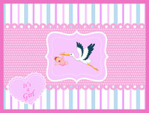 Cartoon stork with baby girl card Royalty Free Stock Image
