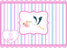 Cartoon stork with baby girl card Royalty Free Stock Images