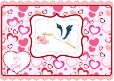 Cartoon stork with baby girl card Stock Photo