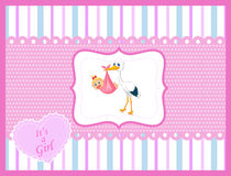 Cartoon stork with baby girl card Royalty Free Stock Photo