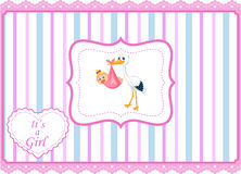 Cartoon stork with baby girl card Royalty Free Stock Photos