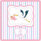 Cartoon stork with baby girl card Royalty Free Stock Photography
