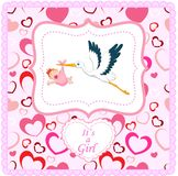 Cartoon stork with baby girl card Stock Images