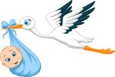 Cartoon Stork with baby Royalty Free Stock Image