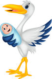 Cartoon stork with baby Royalty Free Stock Photo