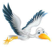 Cartoon stork bird flying Royalty Free Stock Photo