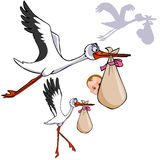 Cartoon stork carries a bag with a child Stock Image