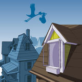 Cartoon stork carries a bag with a child over the roofs Stock Photography