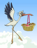 Cartoon stork carries a basket with a newborn baby Royalty Free Stock Photos