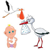 Cartoon stork carries newborn baby Royalty Free Stock Image