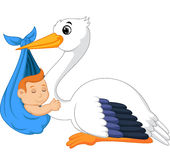 Cartoon stork carrying baby Royalty Free Stock Photography