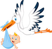 Cartoon stork carrying baby Royalty Free Stock Photos