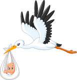 Cartoon stork carrying baby stock illustration