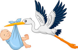 Cartoon stork carrying baby Stock Photography
