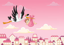 Cartoon stork delivering a baby girl Stock Photo