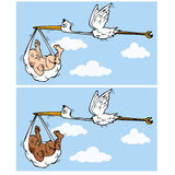 Cartoon stork flying with baby Royalty Free Stock Images