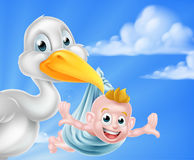 Cartoon stork holding baby Royalty Free Stock Image