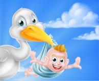 Cartoon stork holding baby Royalty Free Stock Image