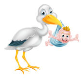 Cartoon Stork Holding New Born Baby Stock Images