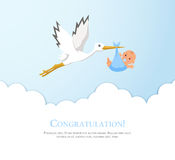 Cartoon stork in sky with baby. Design template for greeting card, baby shower invitation, banner. Royalty Free Stock Photography