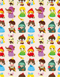 Cartoon story people seamless pattern. Drawing Stock Photography