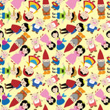 Cartoon story people seamless pattern. Drawing Royalty Free Stock Images