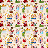 Cartoon story people seamless pattern Stock Photo