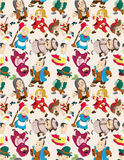 Cartoon story people seamless pattern Royalty Free Stock Photo