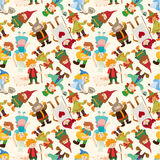 Cartoon story people seamless pattern. 