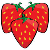 Cartoon strawberries Stock Images