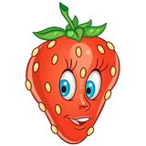Cartoon strawberry character. Happy fruit symbol. Food icon. Design element for children`s coloring book, kids t-shirt print, labels, patches or stickers stock illustration