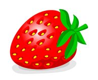 Cartoon strawberry. Color cartoon strawberry with foliage and light effect Royalty Free Stock Image