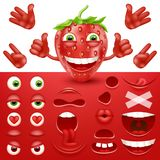 Cartoon strawberry 3d smiley face vector character creation constructor. Emoji with emotions, eyes and mouthes set. Vector image Stock Photography