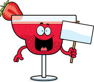 Cartoon Strawberry Daiquiri Sign Stock Image