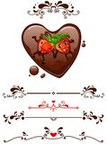 Cartoon strawberry and decorative elements Stock Photos