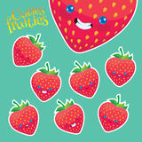 Cartoon strawberry with different emotions Royalty Free Stock Photos