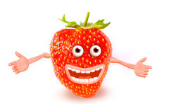 Cartoon strawberry. Objects over white. Photo and royalty free illustration