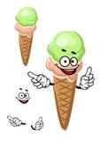Cartoon strawberry and pistachio ice cream cone Stock Photography