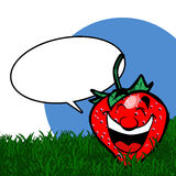 Cartoon Strawberry with speech bubble Royalty Free Stock Image