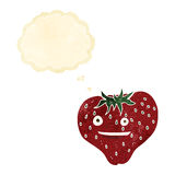 cartoon strawberry with thought bubble Stock Images