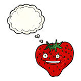 cartoon strawberry with thought bubble Royalty Free Stock Images