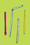Cartoon Straws Over Green Royalty Free Stock Images