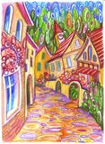 Cartoon street circles. Funny cartoon street with a colourful houses and trees stock illustration