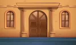 Cartoon street with an entrance to a beautiful old house stock illustration